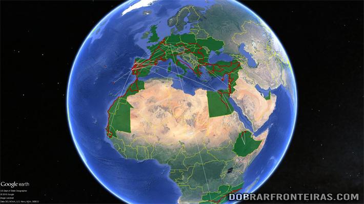 Google Earth com o meu mapa de viagens