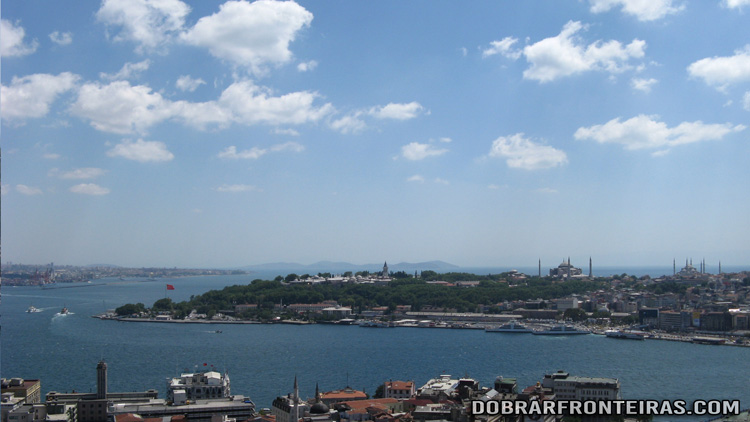 Colina de Sultanahmet vista da torre Galata, Istambul