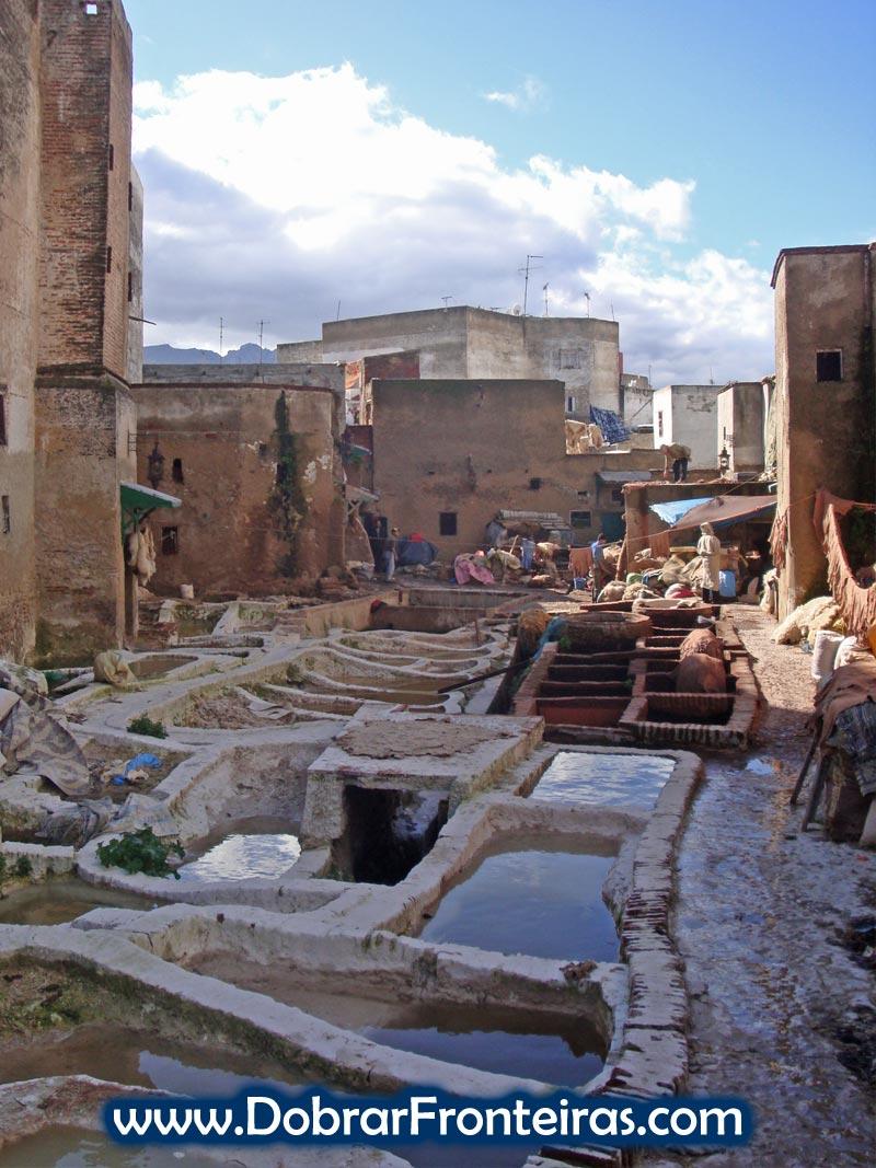 Tanneries, curtumes de peles na cidade velha de Tétouan