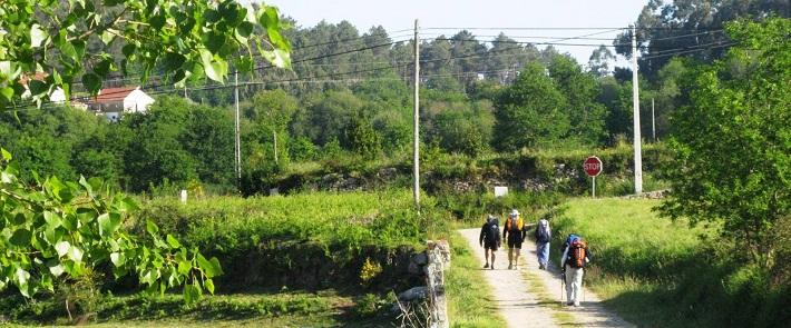 Grupo de peregrinos no Caminho Português de Santiago