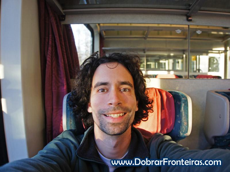 Selfie matinal no comboio de Budapeste para Praga