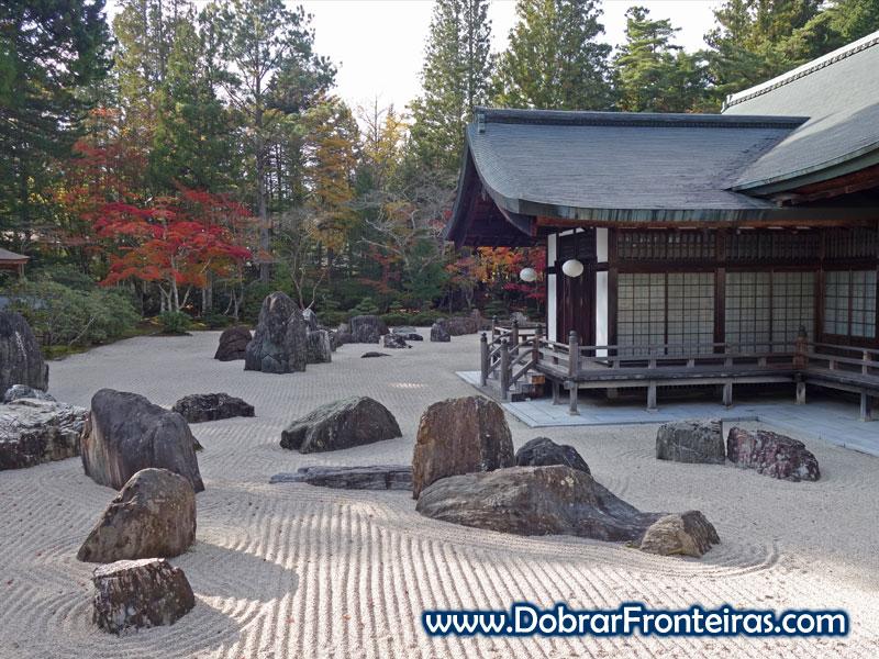 Jardim Banryutei no templo de Kongobuji no Japão