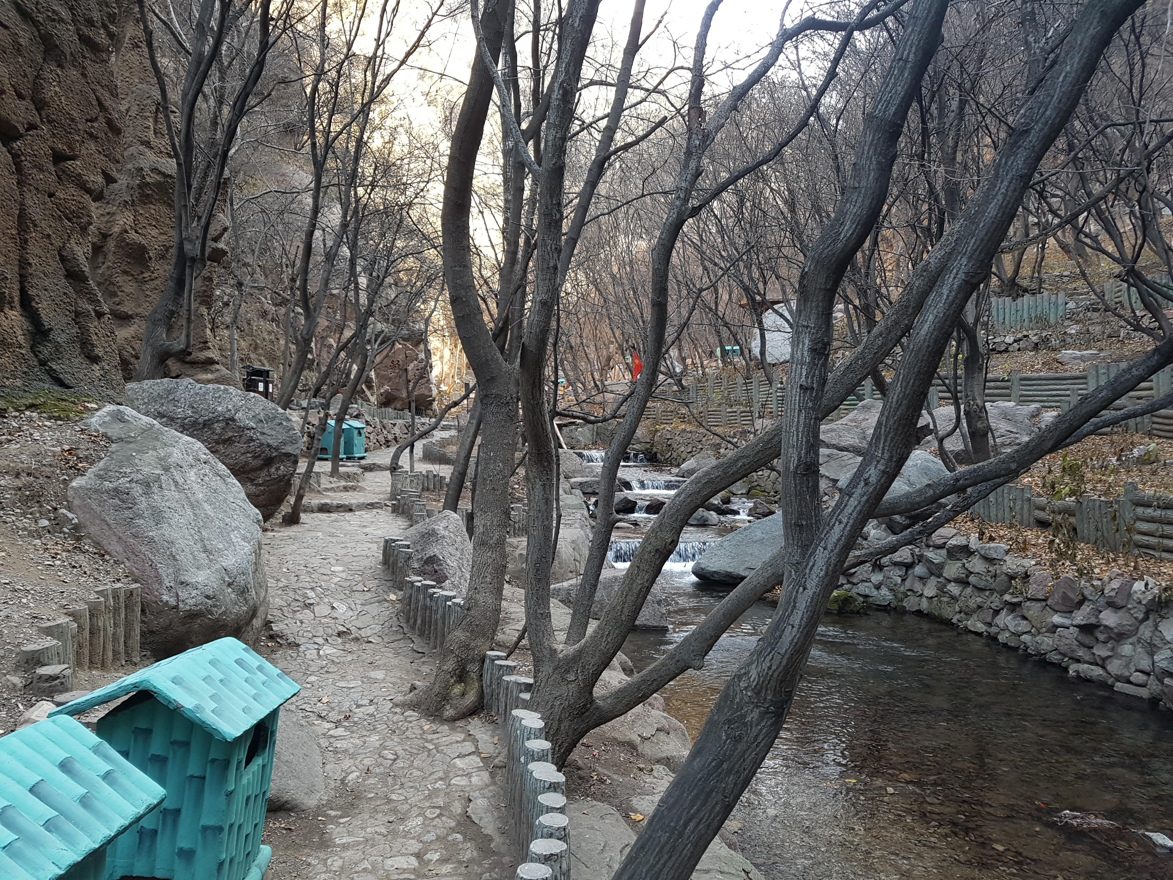 Ribeiro  no inverno no vale de Shuitao, Mianshan, China